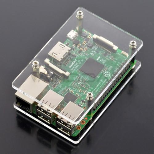 Raspberry Pi dėžutė - permatoma atvira V2