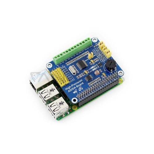 Raspberry Pi Priedėlis - ADS1256 / DAC8552 - A/C ir C/A 24/16-bit SPI Keitiklis