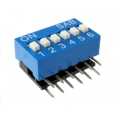 BA06G01B SAB dip-switch angle 6 contacts Right Angle type blue color