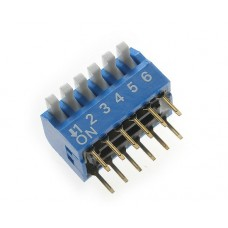 BP06GB SAB dip-switch piano 6 contacts PCB type blue color