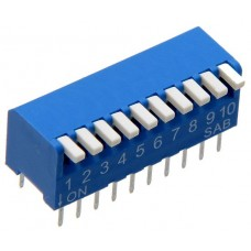 BP10GB SAB dip-switch piano 10 contacts PCB type blue color