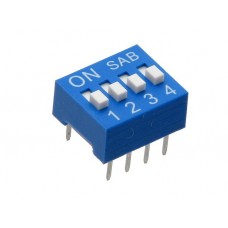 BS04GB SAB dip-switch slide 4 contacts blue color