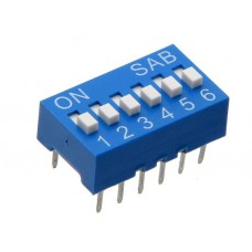 BS06GB SAB dip-switch slide 6 contacts blue color