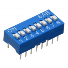BS08GB SAB dip-switch slide 8 contacts blue color