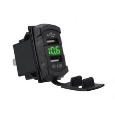 Dual USB charger socket power square green LED digital display voltmeter