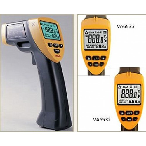 Infrared thermometer with dot laser targeting VA6532 adjustable emissivity