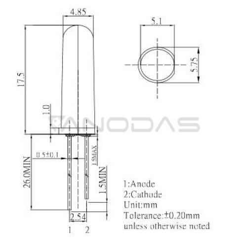 LED  5mm  orenge  68mcd  diffused