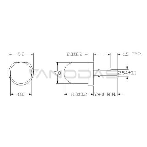 LED  8mm  green  7500mcd  waterclr  Pb  free