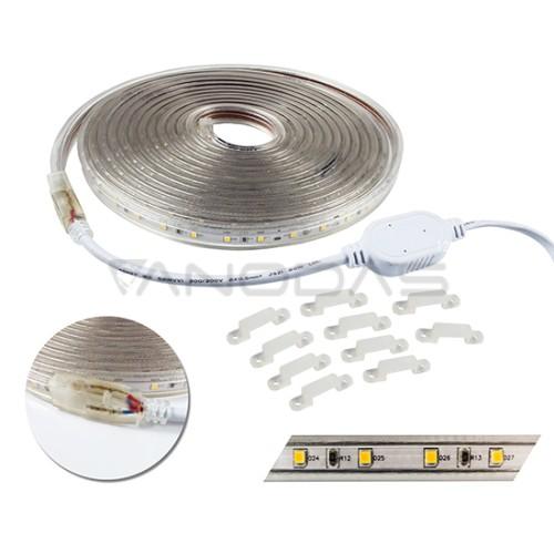 LED juosta šiltai balta (3000K) 300LED 3528 24W 230V 2100lm PCB IP67 5m
