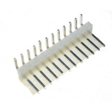 male angled PCB 12 pin pitch 3.96mm tinned white colour