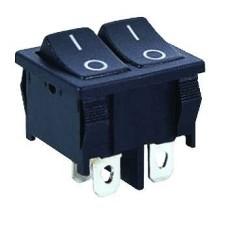 Klavišinis jungiklis dviejų pozicijų dvigubas DPST 4P 6A 250VAC