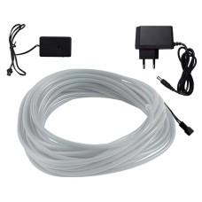 Šviečiantis baltas laidas El wire 5mm 10m maitinimas 230VAC