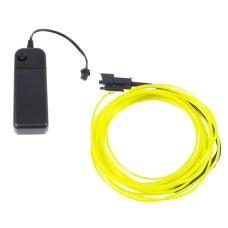 Šviečiantis geltonas laidas El wire 1.3mm 3m maitinimas 2xAA