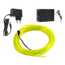 Šviečiantis geltonas laidas El wire 3.2mm 10m maitinimas 230VAC