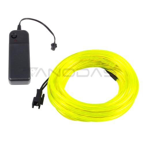Šviečiantis geltonas laidas El wire 3.2mm 3m maitinimas 2xAA