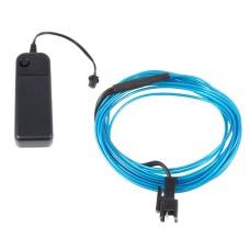 Šviečiantis mėlynas laidas El wire 1.3mm 3m maitinimas 2xAA