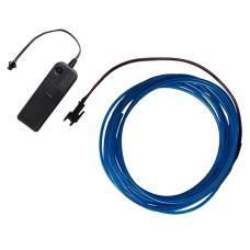Šviečiantis mėlynas laidas El wire 2.3mm 3m maitinimas 2xAA