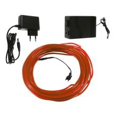 Šviečiantis oranžinis laidas El wire 3.2mm 10m maitinimas 230VAC