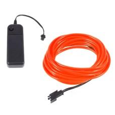 Šviečiantis oranžinis laidas El wire 3.2mm 3m maitinimas 2xAA