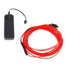 Šviečiantis raudonas laidas El wire 1.3mm 3m maitinimas 2xAA
