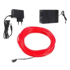 Šviečiantis raudonas laidas El wire 3.2mm 10m maitinimas 230VAC