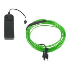 Šviečiantis žalias laidas El wire 1.3mm 3m maitinimas 2xAA