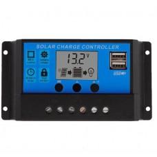 Saulės Baterijų Valdiklis 12/24V 30A 2x USB