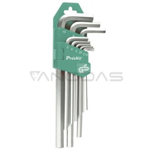 Šešiabriaunių raktų komplektas (9 vnt.) HW-129 Pro'sKit