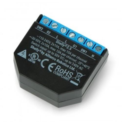 Shelly 2.5 WiFi valdomas 2 kanalų relinis jungiklis ir žaliuzių valdiklis 110-230VAC 24–60VDC