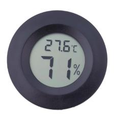 Termometras - hidrometras apvalus LCD juodas