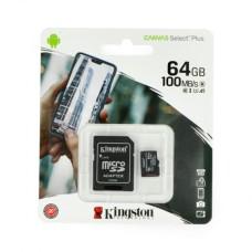 64GB 100Mb/s microSDXC atminties kortelė Kingston Canvas Select Plus