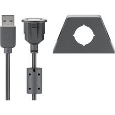 USB 2.0 Hi-Speed prailginimo laidas su tvirtinimo laikikliu - juodas