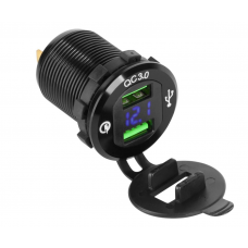 USB car charger with Quick Charge and voltage meter