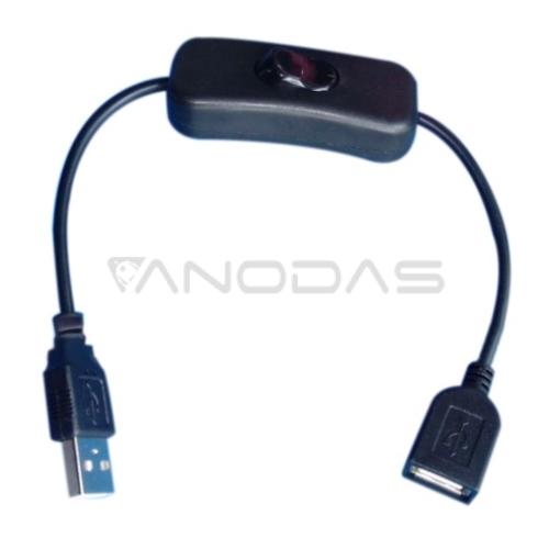 USB laidas su jungikliu kištukas - lizdas 30cm