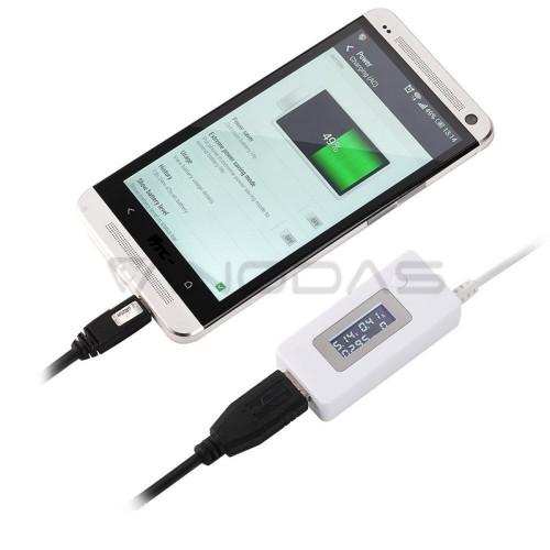 USB Volt/ampermetras 3-7V Baltas