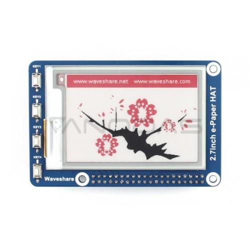 Waveshare E-paper E-Ink Ekranas Priedėlis Raspberry Pi Mikrokompiuteriui - 2.7