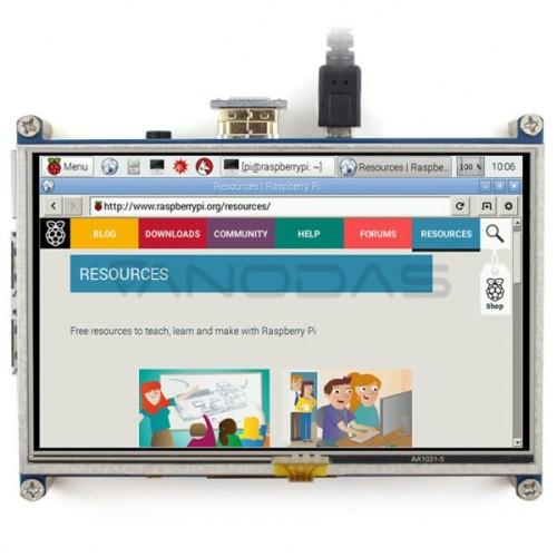 Waveshare Varžinis Lietimui Jautrus Ekranas Raspberry Pi 3/2/B+ mikrokompiuteriui - LCD TFT 5